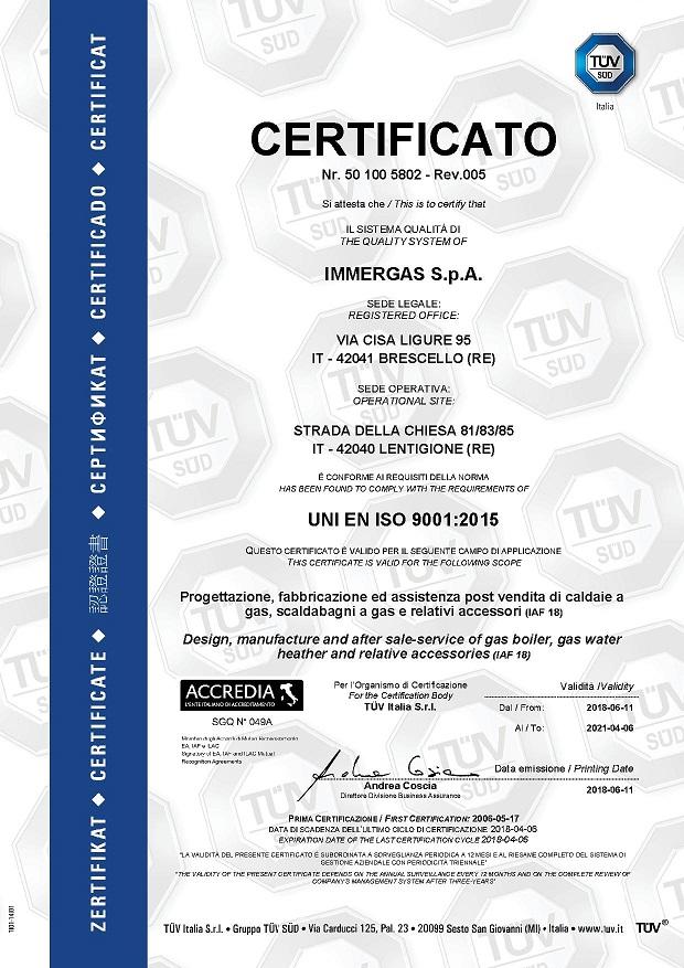 Immergas: qualità certificata ISO 9001:2015