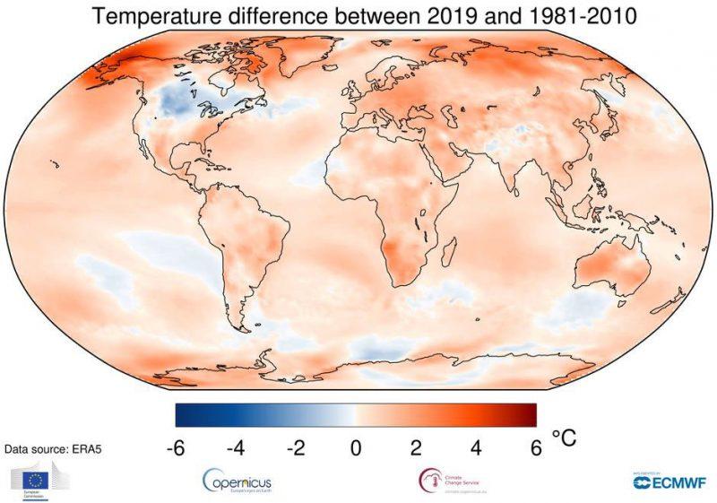 2019 secondo anno più caldo di sempre